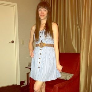 Blue and White Striped Dress with Belt